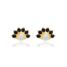 Sparkling Black Zircon Stud Earring Turkish Wholesale 925 Sterling Silver Jewelry
