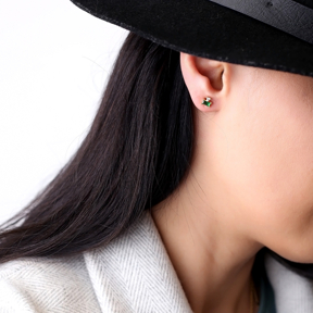 Trendy Design Emerald Stud Earrings Turkish Wholesale 925 Sterling Silver Jewelry