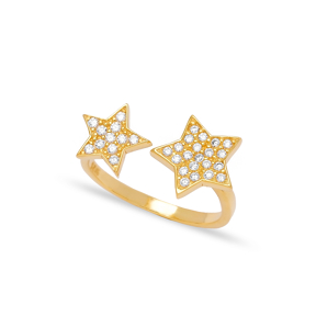 Double Star Design Zircon Stone Adjustable Ring Turkish Wholesale Handcrafted 925 Silver Jewelry