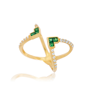 Emerald Design Adjustable Ring Turkish Wholesale 925 Silver Sterling Jewelry