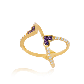 Amethyst Design Adjustable Ring Turkish Wholesale 925 Silver Sterling Jewelry