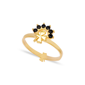 Four Leaf Clover Design Black Zircon Stone Cluster Ring Wholesale 925 Sterling Silver Jewelry