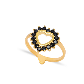 Divine Heart Design Black Zircon Stone Cluster Ring Wholesale 925 Sterling Silver Jewelry