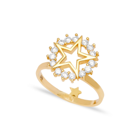 Star Design Zircon Stone Cluster Ring Wholesale 925 Sterling Silver Jewelry