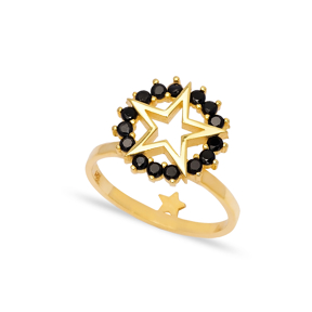 Star Design Black Zircon Stone Cluster Ring Wholesale 925 Sterling Silver Jewelry