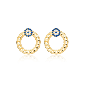 Sapphire Evil Eye Hollow Design Stud Earrings 925 Sterling Silver Jewelry