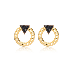 Black Zircon Triangle Link Chain Hollow Stud Earrings 925 Sterling Silver Jewelry