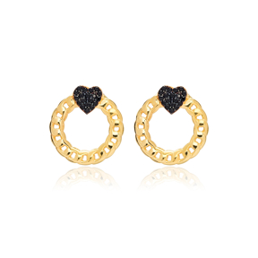 Black Zircon Heart Link Chain Hollow Stud Earrings 925 Sterling Silver Jewelry
