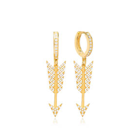 Zircon Arrow Dangle Earring Wholesale 925 Sterling Silver Jewelry