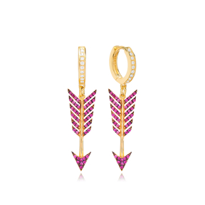 Ruby Arrow Dangle Earring Turkish Wholesale 925 Sterling Silver Jewelry