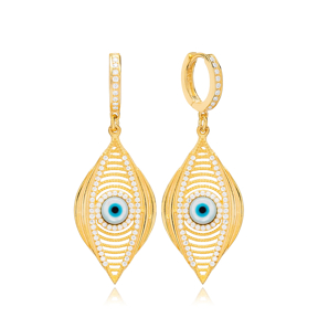 Mystic Evil Eye Dangle Earring Turkish Wholesale 925 Sterling Silver Jewelry