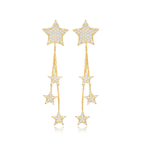 Star Charms Long Earrings Wholesale Turkish Handmade 925 Sterling Silver Jewelry