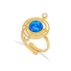 Blue Opal Gemstone Round Design Ring Turkish Handmade 925 Sterling Silver Jewelry