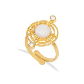 Opal Gemstone Round Design Ring Turkish Handmade 925 Sterling Silver Jewelry