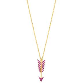 Ruby Arrow Charm Pendant Turkish Handmade 925 Sterling Silver Jewelry