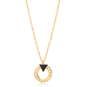 Black Zircon Triangle Link Chain Hollow Design Charm Pendant 925 Sterling Silver Jewelry