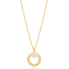 Zircon Clover Link Chain Hollow Design Charm Pendant 925 Sterling Silver Jewelry