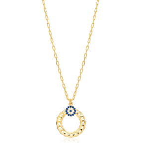 Sapphire Evil Eye Link Chain Hollow Design Charm Pendant 925 Sterling Silver Jewelry