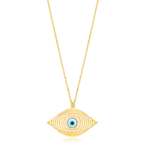 Mystic Evil Eye Link Chain Hollow Design Charm Pendant 925 Sterling Silver Jewelry