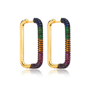 Colorful Zircon Trendy Earrings Wholesale Turkish Handmade 925 Sterling Silver Jewelry