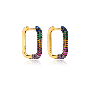 Colorful Elegant Zircon Earrings Wholesale Turkish Handmade 925 Sterling Silver Jewelry