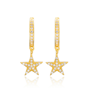 Star Design Dangle Earrings Turkish Wholesale Handmade Sterling Silver Jewellery