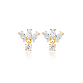 Marquise Cut Zircon Stone Stud Earrings Turkish Wholesale Silver Jewelry