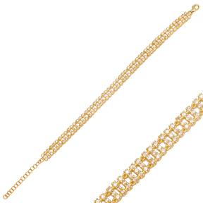 Dainty Rectangle Design Charm Zircon Bracelet Wholesale 925 Sterling Silver Jewelry
