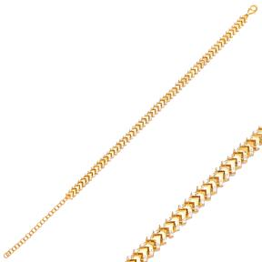 Arrow Point Design Zircon Charm Bracelet Wholesale 925 Sterling Silver Jewelry