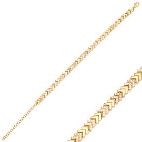 Chic Arrow Point Design Zircon Charm Bracelet Wholesale 925 Sterling Silver Jewelry