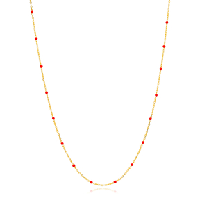 30 Force Red Ball Enamel Chain Turkish Wholesale 925 Sterling Silver Necklace