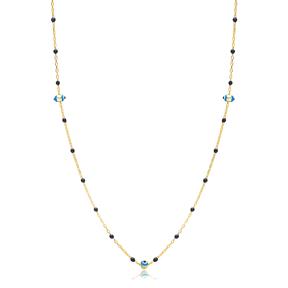 30 Force Evil Eye Charm Black Ball Enamel Chain 925 Sterling Silver Jewelry
