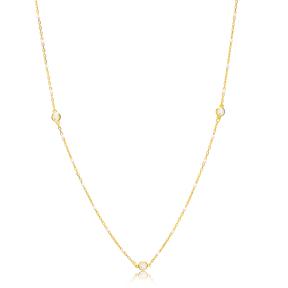 30 Force Zircon Charm White Enamel Chain 925 Sterling Silver Jewelry