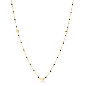 30 Force Zircon Charm Black Enamel Chain 925 Sterling Silver Jewelry
