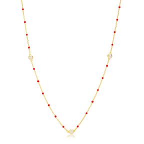 30 Force Zircon Charm Red Enamel Chain 925 Sterling Silver Jewelry