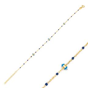 Navy Blue Enamel Evil Eye Charm Bracelet Turkish 925 Sterling Silver Jewelry