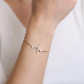 Heartbeat Design Bracelet Wholesale Handcraft  925 Sterling Silver Jewelry