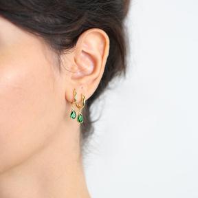 Pear Emerald Earrings Turkish Wholesale 925 Sterling Silver Jewelry