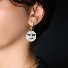 Smile Emoji Dangle Earrings Turkish Wholesale Handmade 925 Sterling Silver Jewelry