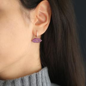 Ruby Lips Earrings Turkish Wholesale 925 Sterling Silver Jewelry