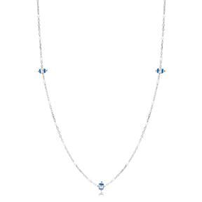 30 Force Evil Eye Charm White Ball Enamel Chain 925 Sterling Silver Jewelry