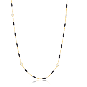 30 Force Zircon Round Charm Black Enamel Chain 925 Sterling Silver Jewelry