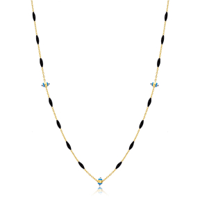 30 Force Turquiose Evil Eye Charm Black Enamel Chain 925 Sterling Silver Jewelry