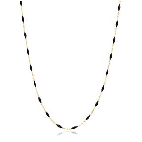 30 Force Elegant Black Enamel Chain Turkish 925 Sterling Silver Jewelry