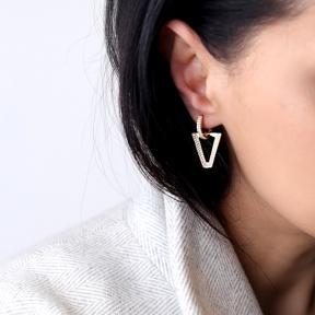 GeometrIc Design Zircon Stone Ø14 mm Hoop Earring Turkish 925 Sterling Silver Jewelry