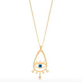 22K Gold Vintage Evil Eye Design Pendant Wholesale Handcrafted 925 Silver Jewelry