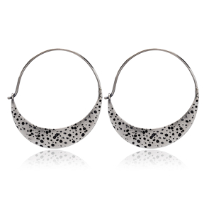 Crescent Shape Vintage Earrings Handcrafted Wholesale 925 Sterling Silver Jewelry