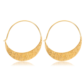22K Gold Crescent Shape Vintage Earrings Handcrafted Wholesale 925 Sterling Silver Jewelry