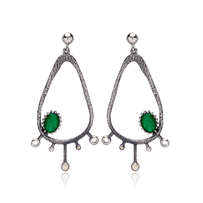 Drop Hollow Shape Malachite Stone Stud Earrings Wholesale 925 Silver Jewelry