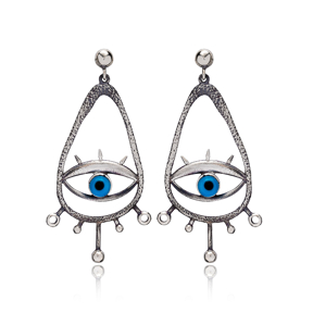Drop Hollow Shape Evil Eye Stud Earrings Wholesale 925 Silver Jewelry